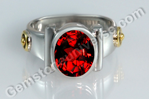 Sacred Herbal Ash Ring for Sun Ruby or Garnet Set with the Arka Herb
