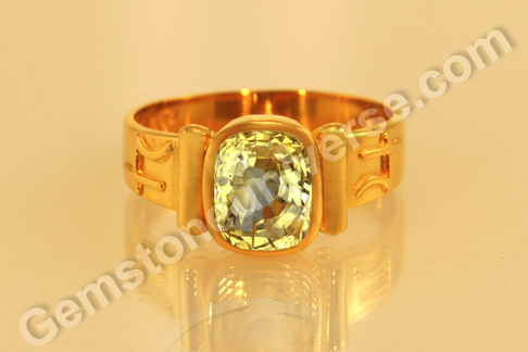 Yellow Sapphire Bhasma Ring with Ashwath Herb in the Tubes from Gemstoneuniverse