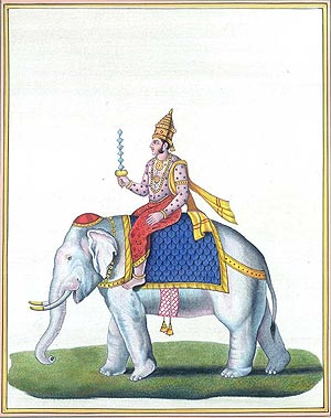 Lord Indra Holding his Thunderbolt called as Vajra