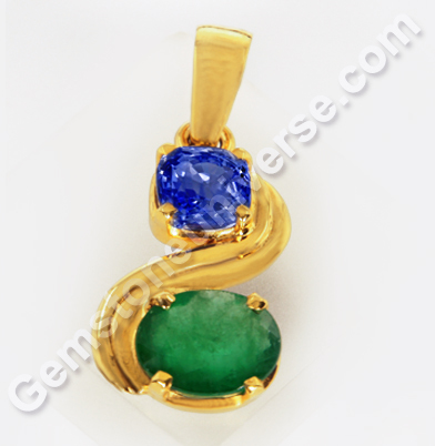 Natural Blue Sapphire of 2.99 carats & Natural Emerald of 2.93 Carats Gemstoneuniverse.com