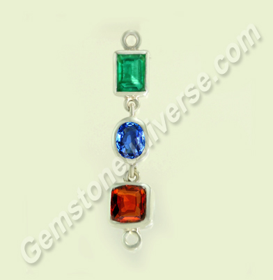 Natural Brazilian Emerald of 1.69 carats, Natural Ceylon Blue Sapphire of 1.72 carats &Natural Ceylon Hessonite of 3.25 carats Gemstoneuniverse.com
