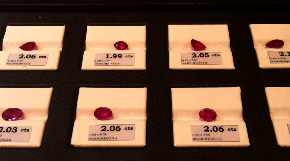 Another section showcasing unheated Rubies