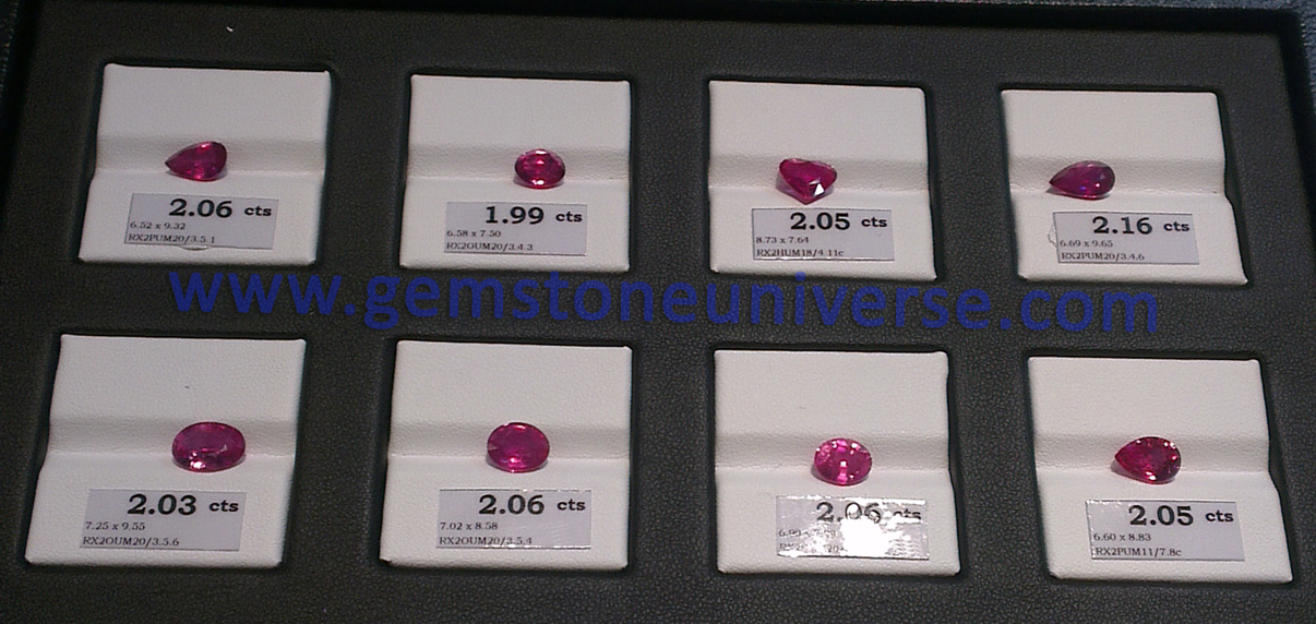 View Rubies that are at the apex of the Gem Pyramid at the Gemstoneuniverse exhibit at the 50th BGJF