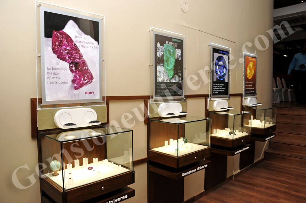 Section of the Gemstoneuniverse store telling the story of The Big Three of the colored Gemstone World - Rubies, Emeralds and Sapphires. The last display showcases Yellow Sapphire,  the Gemstone of Brihaspati.