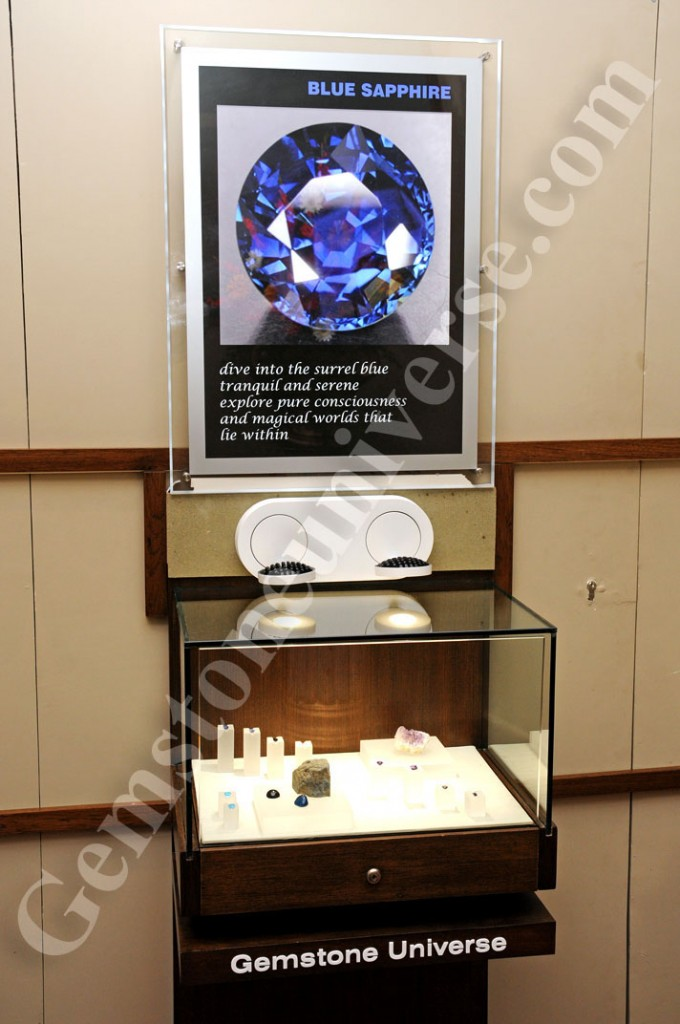Blue Sapphire is the most powerful Gemstone in the world in metaphysical sense. The Blue Sapphire display at Gemstoneuniverse showcasing Sapphires of different origins as well as roughs.