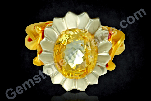 Natural Yellow Sapphire of 3.48 carats set in 16 Petal Lotus Ring