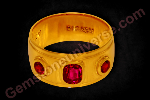 Classical Men's Wedding Band with Natural Ruby of 1.03 Carats and 3mm calibrated round unheated rubies