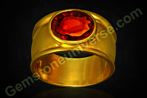 Natural Hessonite of 6.04 carats set in Gold ring for Rahu powers as per Vedic Astrology