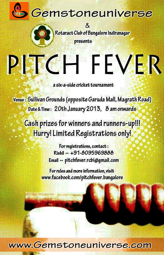 Gemstoneuniverse is the title sponsor of Pitch Fever 2013