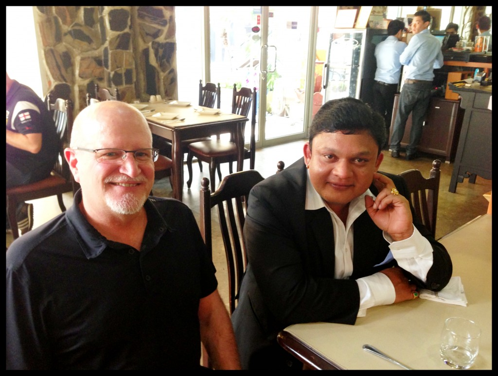 The effects of a good lunch are quite evident- All Smiles! Guruji Shrii Arnav and the legendary Richard W Hughes the author of the classic Ruby & Sapphire