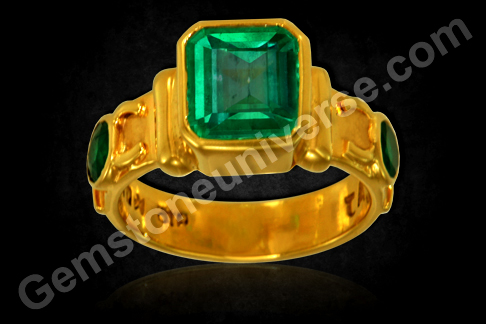 Natural Colombian Emerald Ring with Accent Gems
