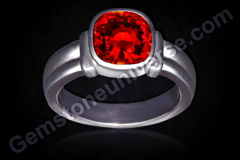 Natural Hessonite Silver Ring