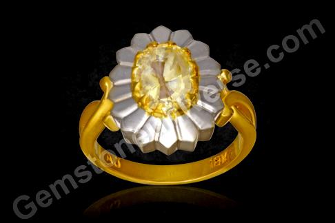 16 petalled Natural Yellow Sapphire Chakra ring