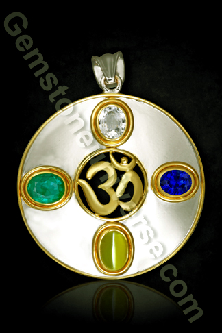 Circle of Life Om Pendant Talisman with 4 Gemstones representing the 4 pillars of life