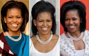 Michelle Obama in pearls