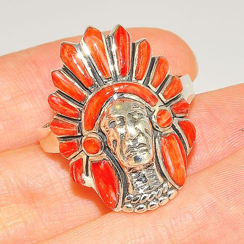 Native American Zuni hear gear coral ring