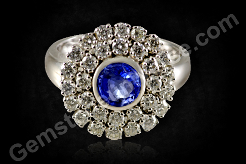 Natural Blue Sapphire and Double Diamond halo ring