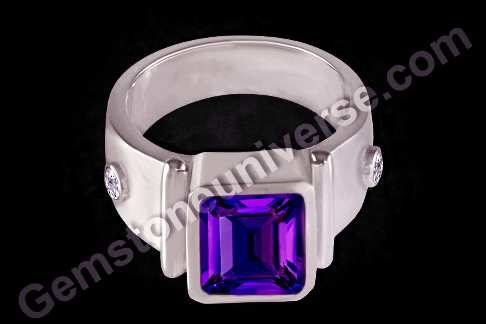Natural Untreated Amethyst and white sapphire ring
