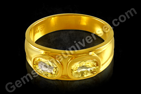 Two Natural Yellow Sapphires in Gold ring