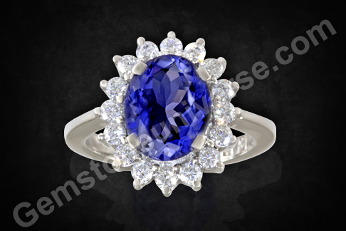 Natural Iolite in a Princess Diana Ring Design