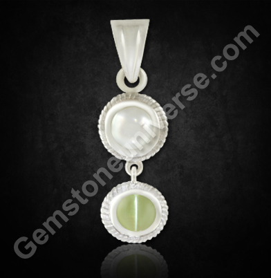 Natural Pearl & Natural Chrysoberyl Cats eye pendant
