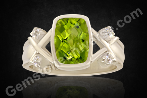 Natural Peridot silver ring