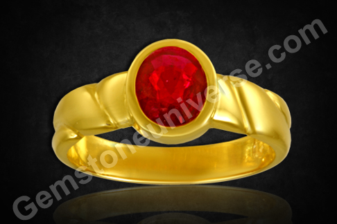 Natural Mozambique Ruby gold ring