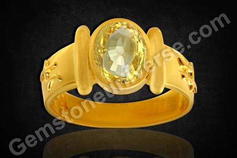 Natural Yellow Sapphire Planetary Bhasma ring