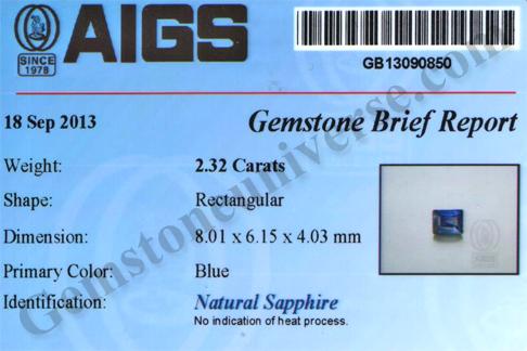 Unheated Blue Sapphire certificate