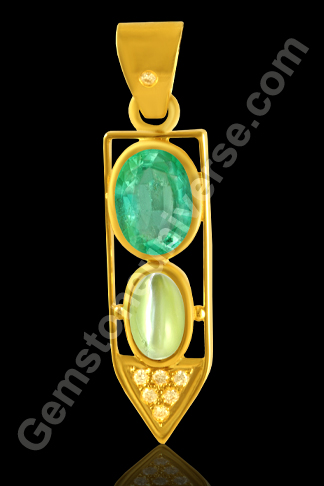 Magnificient Tri Ratna Pendant having Emerald, Cats Eye and Diamond