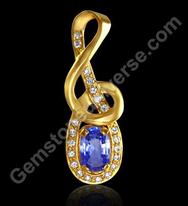Blue Sapphire and Diamonds set in kundalini pendant