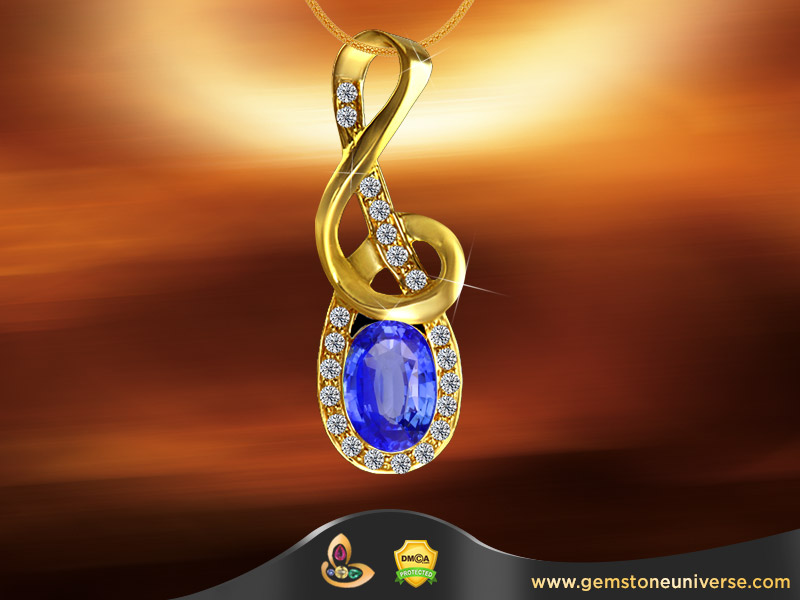 Blue Sapphire and Diamonds set in kundalini pendant