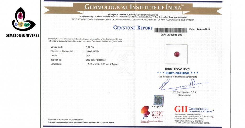 Gemstone Certificate of Natural Ruby