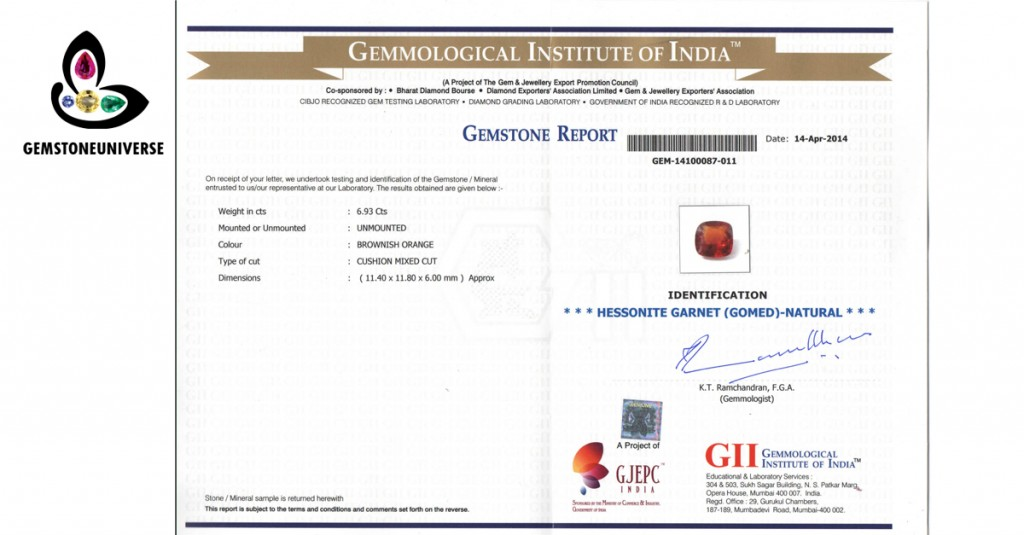 Hessonite Certificate from GII