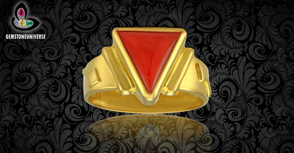 Triangular Italian Red Coral Ring