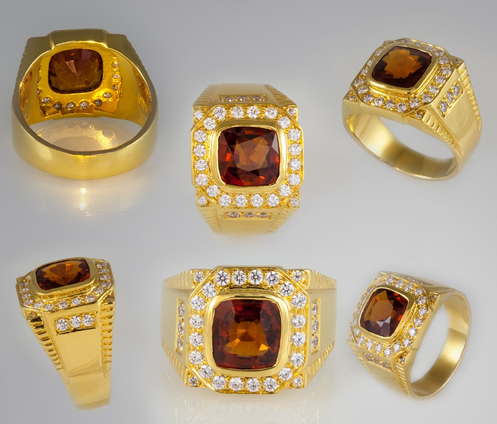 Photograph showing detailing of the fine Hessonite ring set in Gold