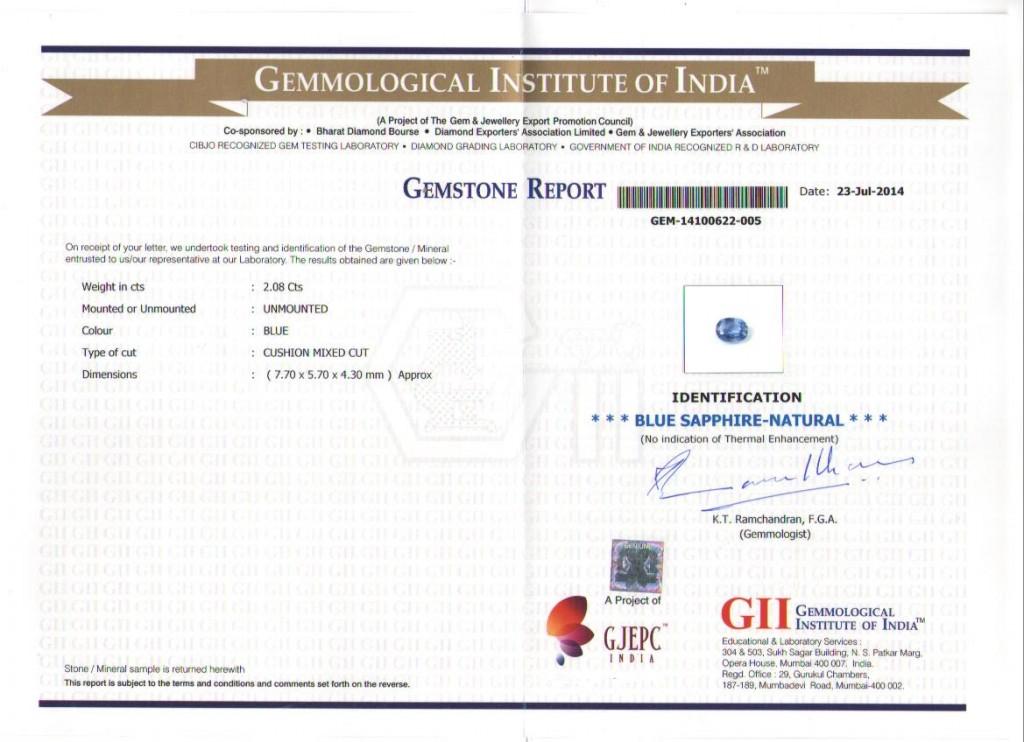 Blue Sapphire unheated certificate