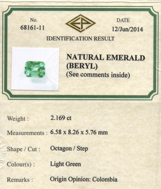 Emerald Ring Certificate