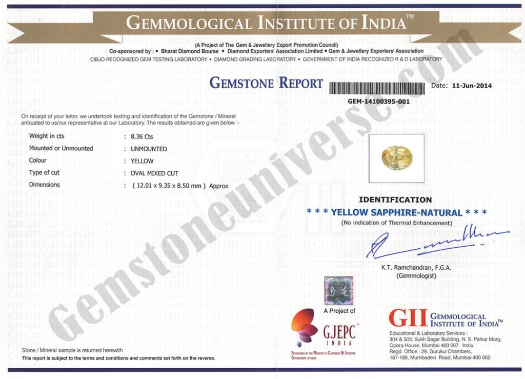 Unheated Yellow Sapphire Gemstone Certificate