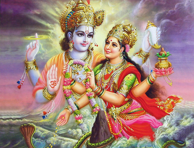 Goddess Lakshmi and Mahavishnu