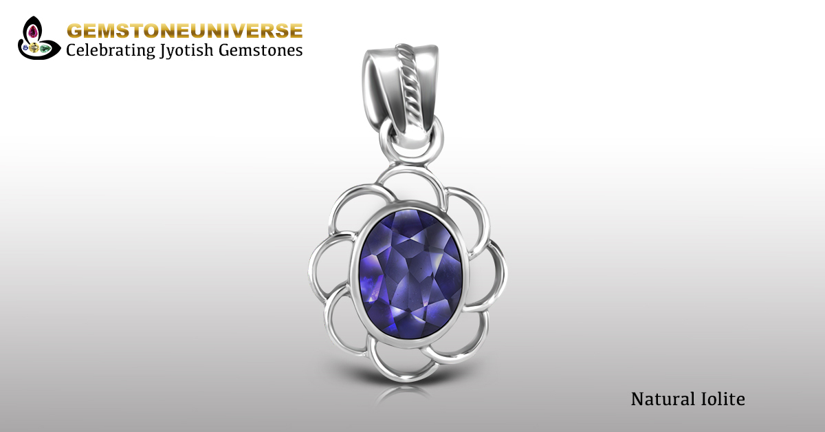 Natural Iolite Set in Silver Pendant