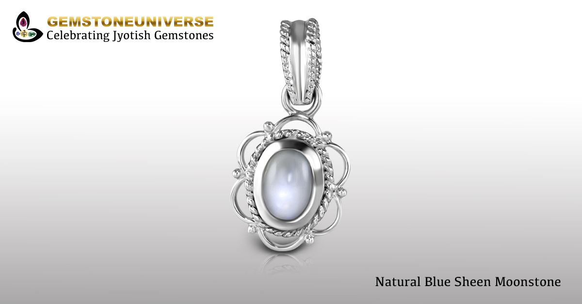 Natural Tanzania Moonstone Set in Silver Pendant