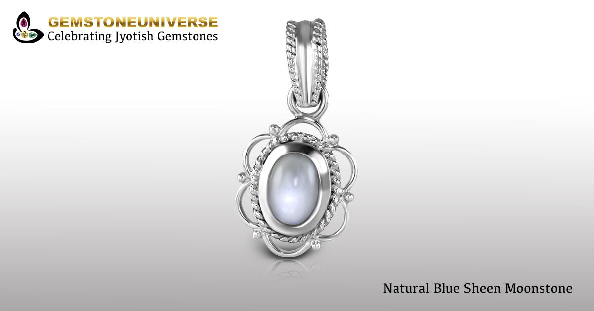 Natural Tanzania Moonstone Set in Silver Pendant