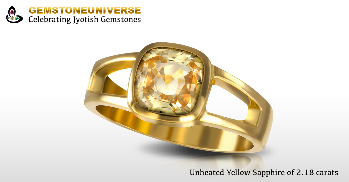 Unheated Yellow Sapphire Set in Gold ring