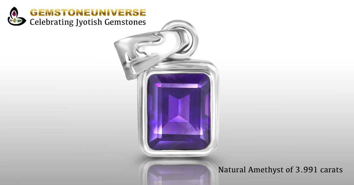 Eye Clean Natural Amethyst set in Saturn Talisman Pendant