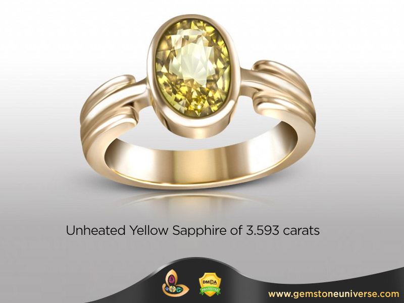 A Fine Unheated Ceylon Yellow Sapphire A Real kanaka Pushya Raga
