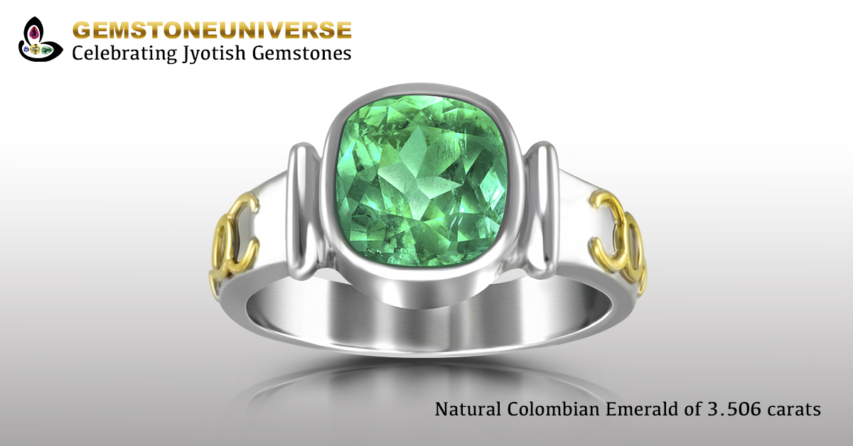 Colombian Emerald Talismanic Ring with Sacred herbs for Mercury