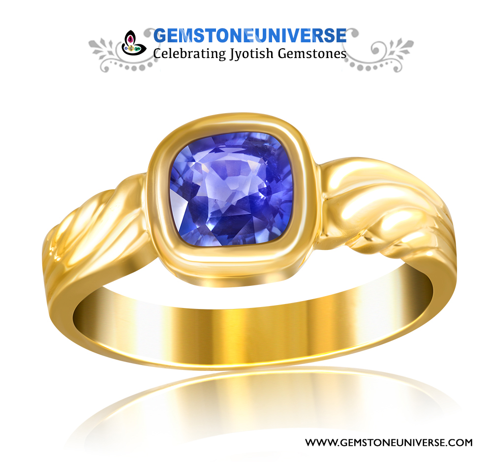 Exceptionally clean unheated Blue Sapphire set in Gold Ring