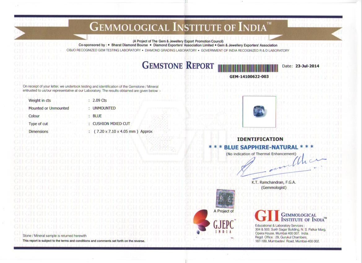 Gemstone Certification of the Blue Sapphire from GII certifying it as Natural and Free from Thermal enhancement
