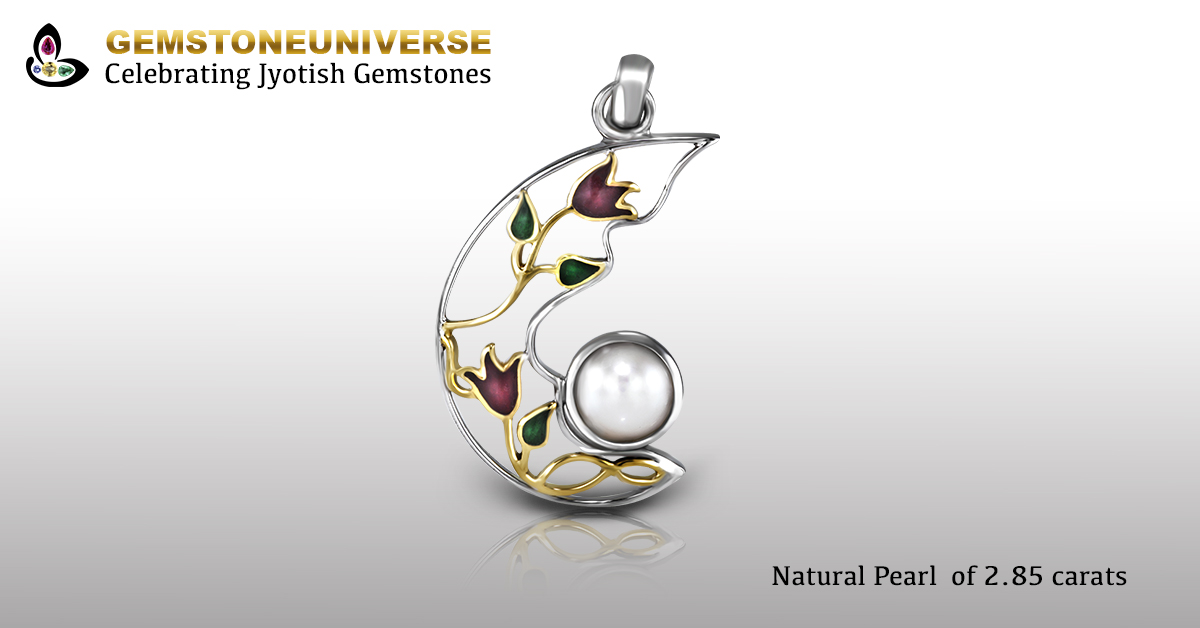 Natural Pearl set in Exotic Design with the flowers representing the beauty and perpetuity of life